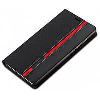 Чехол-книжка PU кожа для Xiaomi Redmi 3 Red Line черный