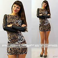 Леопардовое платье с рукавами из экокожи