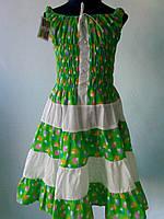 """Летний сарафан  """"Орнамент"""" зеленый для девочек от 6 до 13 лет (32-40 размер)"""