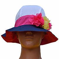 Летняя шляпка панама для девочки.Джинс.