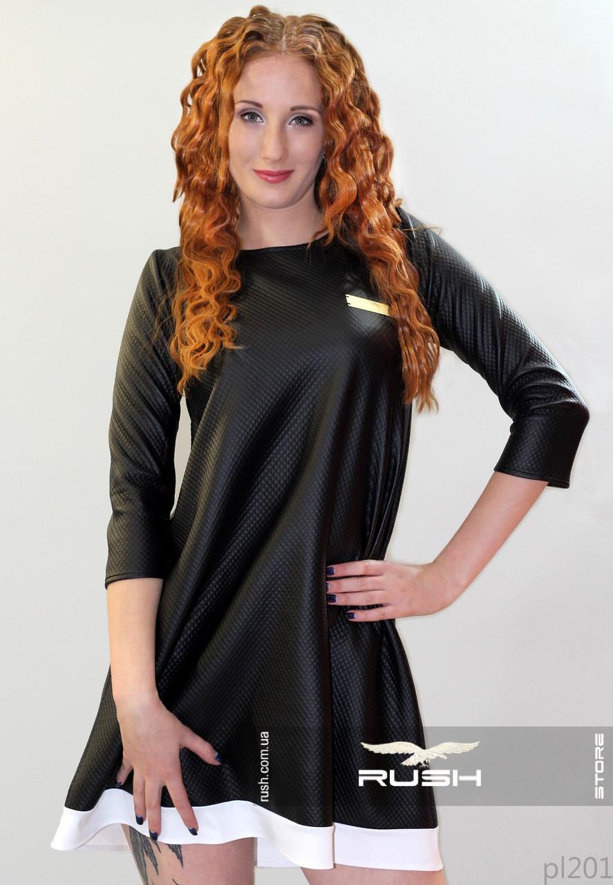 Платье из стеганного кожзама