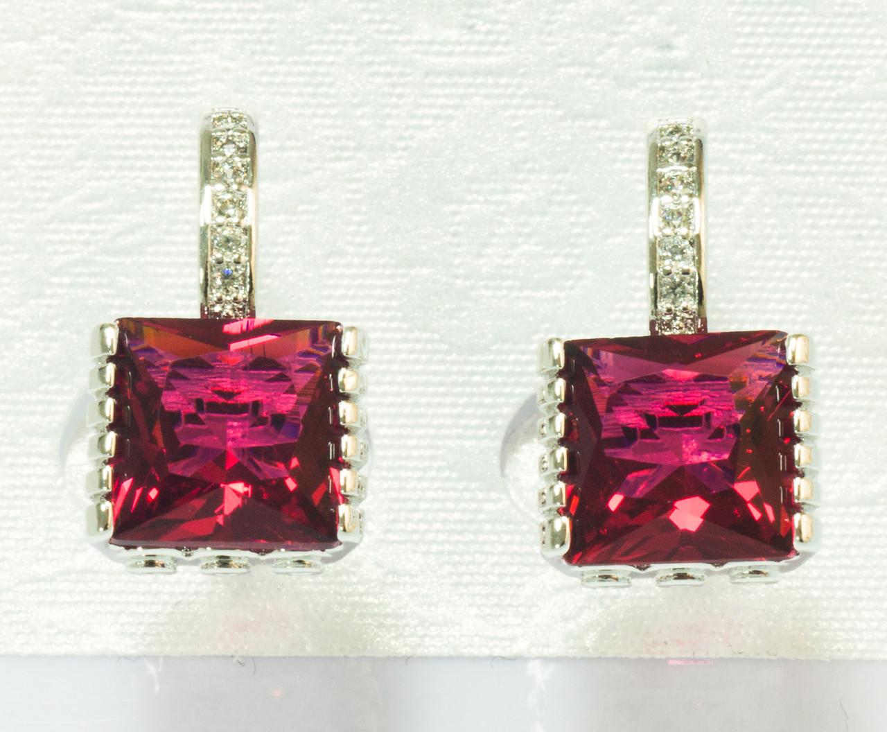 Сережки родовані, Квадрат з червоним цирконієм, Xuping