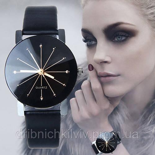 Стильные женские часы. Черные (Код 034)