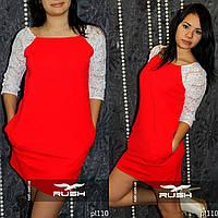 Модное женское платье с гипюром