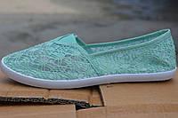 Женские мокасины сеточка зеленые, фото 1