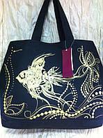 Яркая сумка пляжная из хлопка чёрная с жёлтой рыбкой
