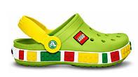 Детские кроксы Crocs Lego светло-зеленые