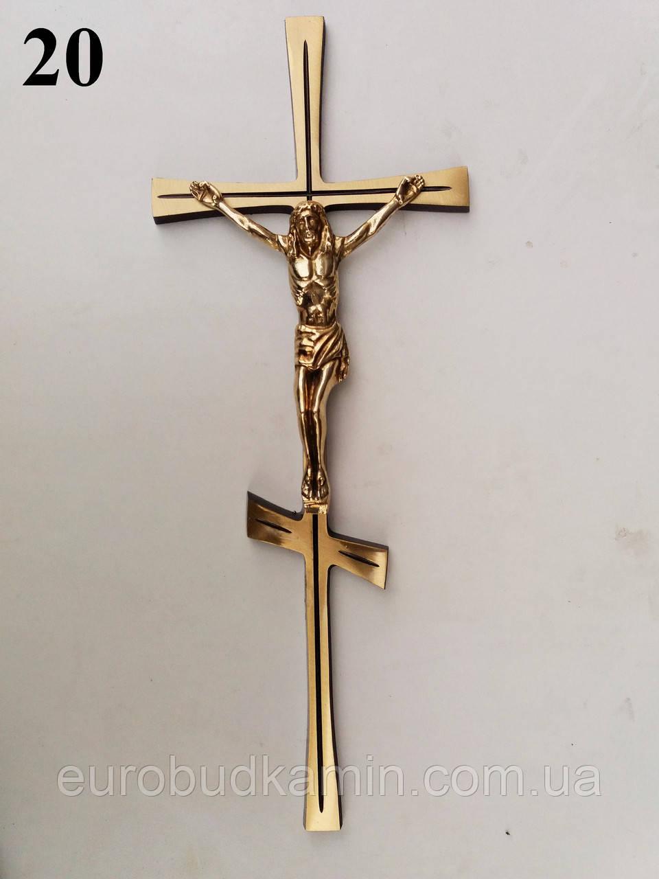Латунный крест с распятием h=420 мм