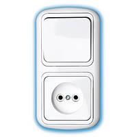 Блок электроустановочный скрытой установки 533 (выключатель одинарный + розетка)