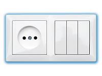 Блок электроустановочный скрытой установки 689(выключатель тройной+ розетка)