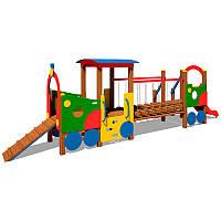 Паровозик с вагоном и горкой для детской площадки