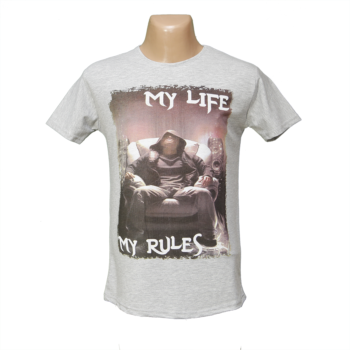 """Мужская стрейчевая футболка Lycra """"My Life""""  2646"""