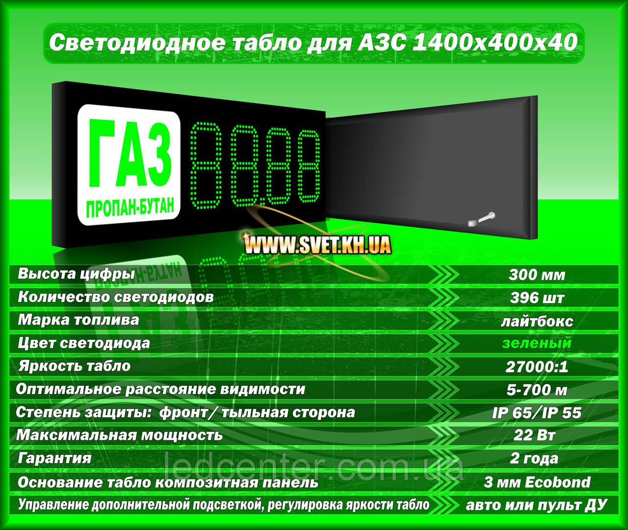 Табло для АЗС 1400x400x40 на зеленых матовых светодиодах