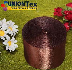 Лента атласная 5 см коричневая