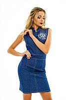 Женское джинсовое платье без рукав