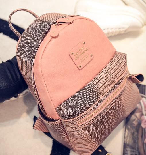 Элегантный женский рюкзак персикового цвета