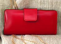 Кошелек большой кожаный К-12 (красный глянцевый)