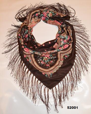 Теплый стильный павлопосадский платок (52001) 1