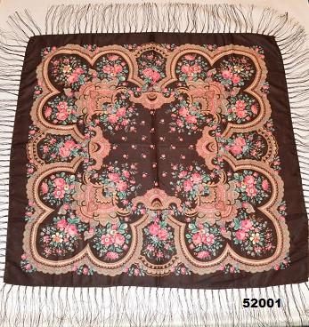 Теплый стильный павлопосадский платок (52001) 2
