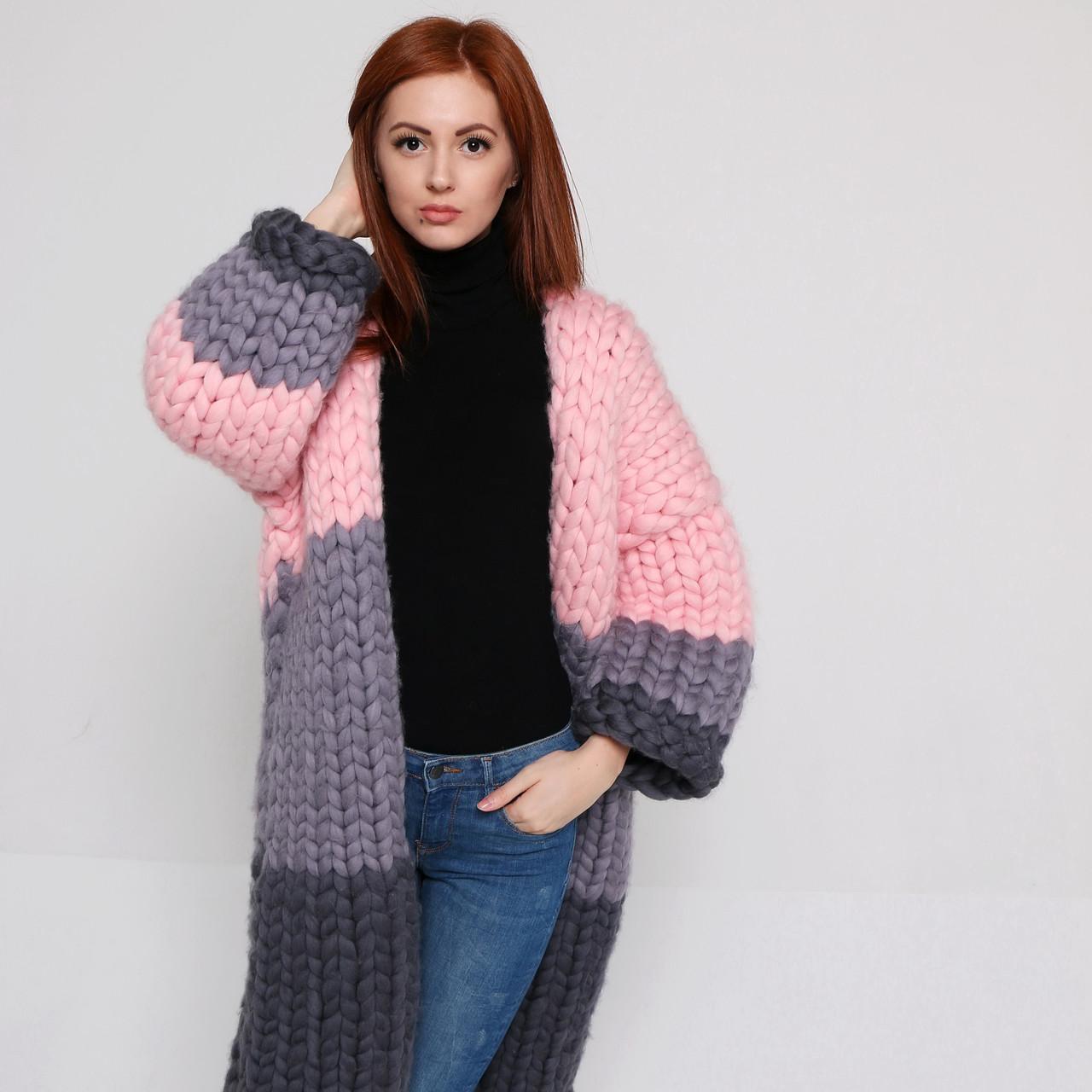 кардиган пальто из толстой пряжи 100 шерсть мериноса цена 3 200
