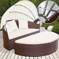 Большая раскладная кровать из ротанга, фото 1