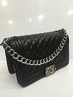 Женская сумка клатч Chanel Boy (Шанель Бой) 1538 стеганая черная