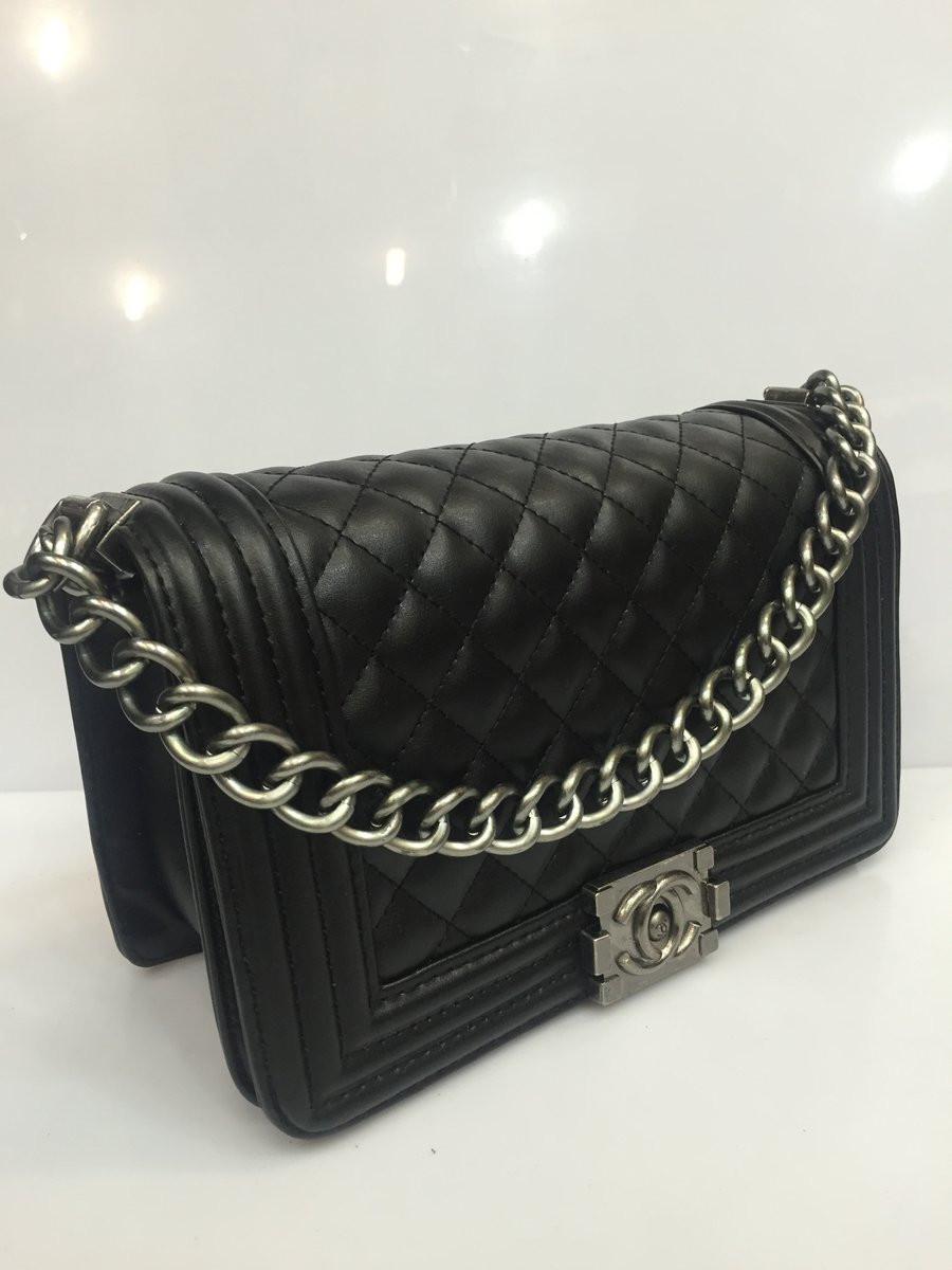Женская сумка клатч Chanel Boy (Шанель Бой) 1538 стеганая черная - Shoppingood в Харькове