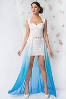 Эксклюзивное вечернее платье со съемной шифоновой юбкой