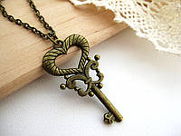 Кулон ключ «Butterfly», подвеска ключ с сердечком для влюбленных, кулон ключик от сердца