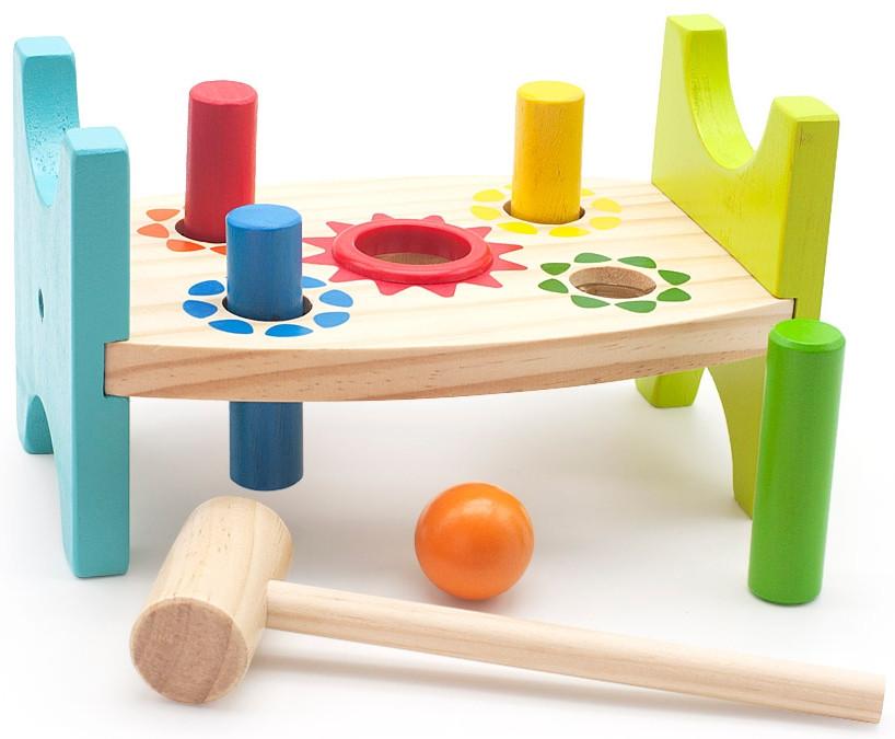 Деревянная игрушка Стучалка шарик и гвоздики МДИ (Д369)