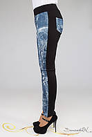 Трикотажные лосины стилизованные под джинсовую ткань мз турецкого трикотажа большого размера 48-52, фото 1