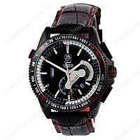 Бюджетные часы Tag Heuer Grand Carrera Calibre 36 Leather Automatic Black/Silver