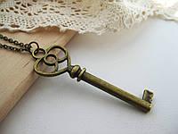 Кулон ключ «Тайник желаний», подвеска ключ с сердечком для влюбленных, кулон ключик от сердца