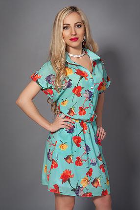 Красивое нарядное летнее платье-рубашка из креп шифона, фото 2