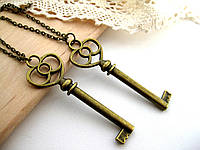 Парные кулоны «Ключи для влюбленных», парные кулоны для влюбленных, подвески для двоих, сердечки для пары