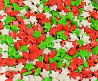Звездочки красно-зелено-голубые посыпка сахарная декоративная 500 гр