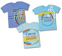 Детская хлопковая футболка для мальчика (7-10 лет) музыка синяя, голубая, бирюза (Габби)