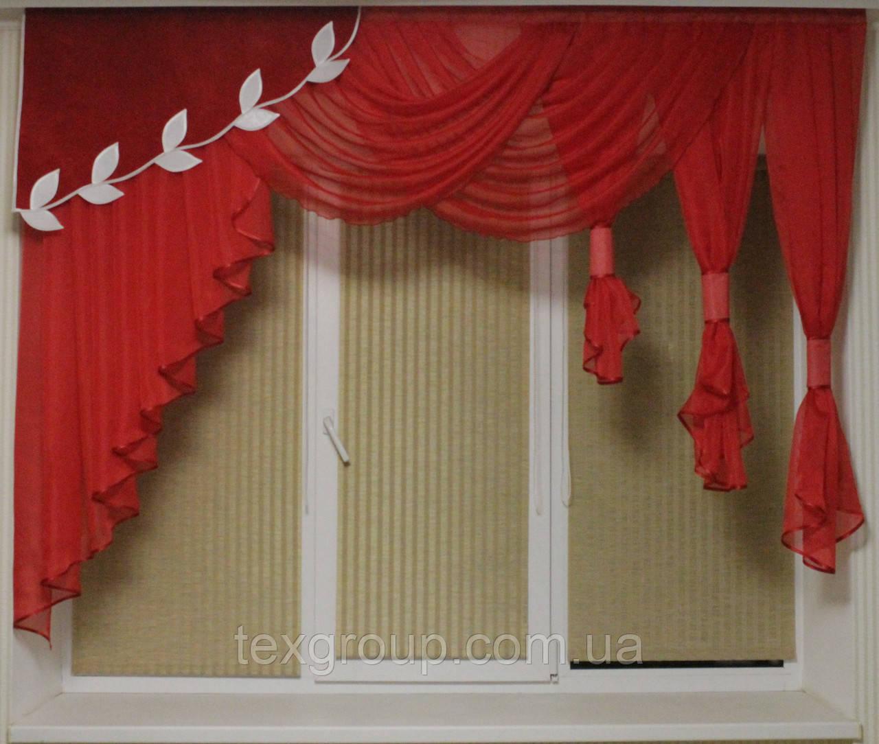 Ламбрекен шифоновый 1,50-2м №125 красный