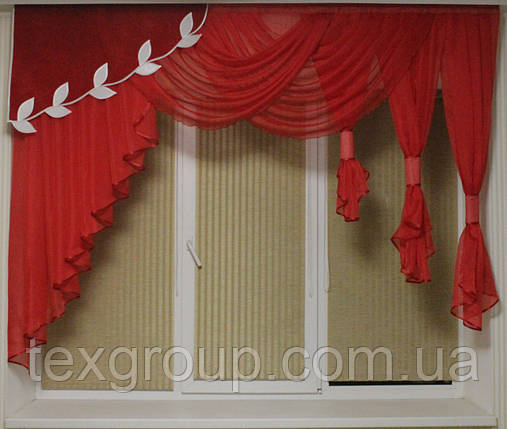 Ламбрекен шифоновый 1,50-2м №125 красный, фото 2