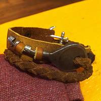 Кожаный браслет с ключом и якорем
