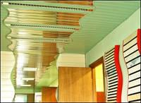 Реечные подвесные потолки для ванной зеркальный хром  золото медь