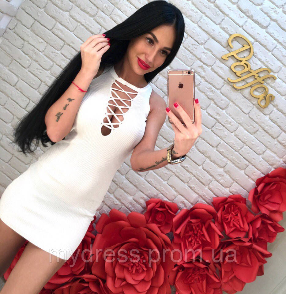 Платье-туника в рубчик