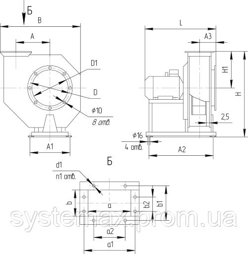 Габаритные и присоединительные размеры центробежного вентилятора ВЦ 10-28 №5 (Исполнение №1)