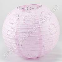Подвесной фонарик ажурный светло-розовый, 25 см