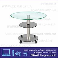 Bravo овальный столик из стекла ggg/met (650Х450Х520)