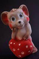 Копилка Мышь, флокированная