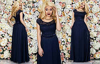 Женское вечернее платье Афродита \ т.синее