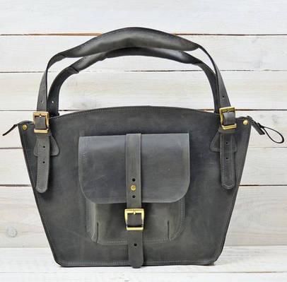 Удобная женская сумка из натуральной кожи GBAGS B.0003mini-CH серый