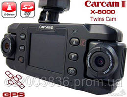 Элитный, автомобильный 2-х камерный видеорегистратор с GPS датчиком и G-сенсором X8000! ОРИГИНАЛ!