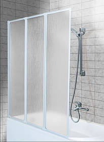 Шторка для ванн Aquaform STANDARD-3 трёх элементная 121х140 профиль белый 170-04010